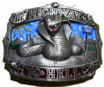 HIGHWAY TO HELL BELT BUCKLE + display stand. Code AA2